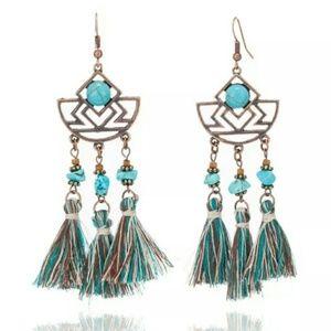 Boho Ethnic Turquoise Tassel Earrings